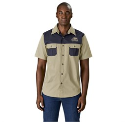 Mens Short Sleeve Serengeti 2Tone Bush Shirt