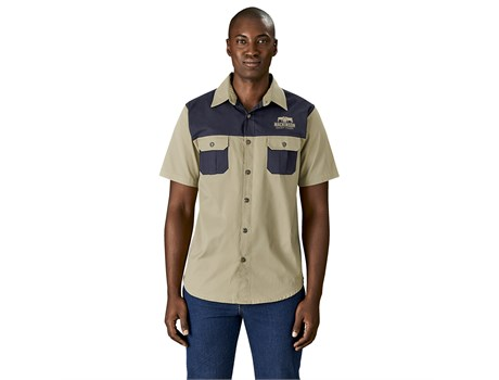 Mens Short Sleeve Serengeti 2-Tone Bush Shirt